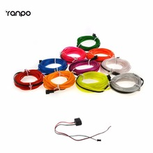 5M 10 colors Neon LED EL Wire Lamp Glow String Lights Rope Tube For Home Car Dance Party decoration + 12V powered controller