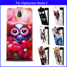 Factory price Fashion Patterns Cartoon Luxury Flip up and down PU Leather Case for Highscreen Boost 2,Free gift