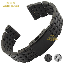 Stainless steel bracelet solid metal watchband watch strap 24 26 28 30mm wristwatches band black silver watch accessories(China)