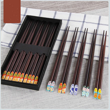 5 Pairs Japanese Style Bamboo Chopsticks Sushi Food Chopsticks  Gift Set Handle Design Printing Patterns Chopsticks with Case