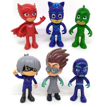 Hot Sale 6pcs/lot Pj Masks Characters Catboy Owlette Gekko Cloak Action Figures Toys Kids Gifts Children Present