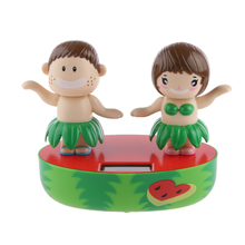 Solar Powered Dancing Flip Flap Car Desk Dancer Bobble Toy Dancing Hula Kids For Car Decoration Novelty Happy Dancing Solar Toys(China)