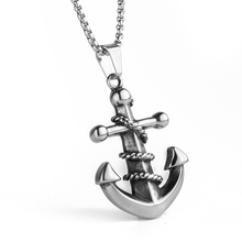 Buy Men Stainless steel necklace Antique silver Titanium steel Anchor Pendant Men' Jewelry 60mm Length Steel Chain Necklace N010710 for $4.29 in AliExpress store