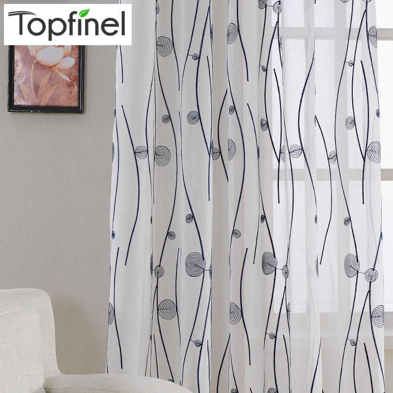 Top Finel Natural Embroidered Sheer Curtains for Living Room Bedroom Elegant Yarn Curtains Embroidery White Voile Curtains Panel