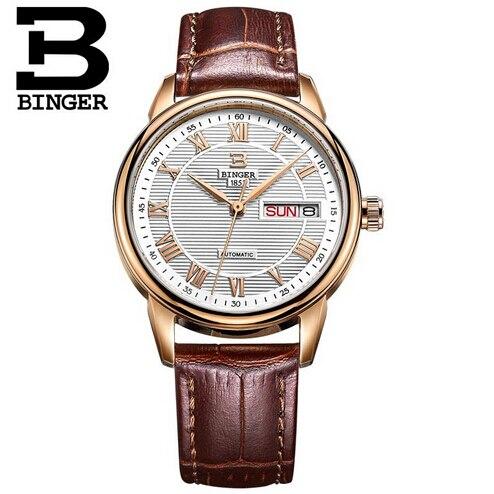 Switzerland Fashion Luxury brand Binger Watches Women Stainless Steel Leather strap Quartz watch Clock Woman relogio masculino<br>