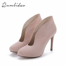 Rumbidzo 2017 Women Pumps Shoes Woman Winter Boots Thin Heel High Heels Shoes  Ladies Genuine Leather  Shoes Zapatos Plus Size