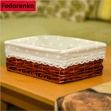 Decorative small wicker baskets kitchen desktop organizer wicker storage box toys makeup sundries storage organizer box wasmand(China)