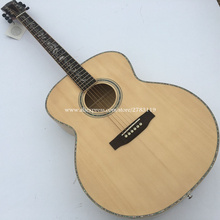 "Hand Made 42"" Jumbo Acoustic Guitar,Solid Spruce Top/Flame Maple Body, guitars china With Hard case"