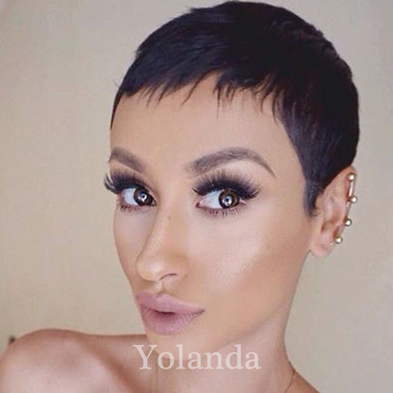 Brazilian Short Straight Hair Lace Front Wigs For Black Women Full Lace Human Cut Hair Wigs With Baby Hair 100% Virgin Cut Hair<br><br>Aliexpress
