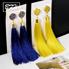 BFH Fashion Long Tassel Drop Earrings for Women Bohemia Vintage Handmade Crystal Flower Statement Woman Earring Jewelry Gift(China)