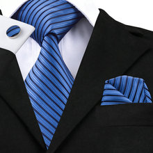 SN-230 Black Blue Striped Tie Hanky Cufflinks Sets Men's 100% Silk Ties for men Formal Wedding Party Groom(China)