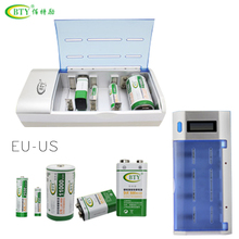 BTY Rechargeable Charger Super Multi Battery Charging For 9V Ni-MH Ni-Cd D C SC A AA AAA 4 batteries USB US EU Plug chargeur LCD