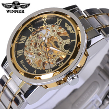 Mechanical Skeleton Watch Transparent Gold Watch Men Watches Top Brand Luxury Relogio Male Clock Men Casual Watch Montre Homme