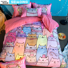 Pink Cartoon Cat Bedding Sets Twin Queen Full King Size 3d Duvet Cover Bedspread with Pillowcase Kid Teen Girl Bedroom Textile(China)