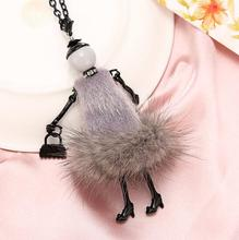 10 Colors New Fashion Doll Necklace! Winter Various Colors fur Doll Key Chains Women Accessories Jewelry Female Gifts Hot