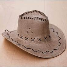 Khaki 1Pcs Fashion Cowboy Hat Suede Look Wild West Fancy Dress Mens Ladies Unisex High Quality(China)