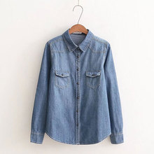 Dioufond Blue Denim Shirts Women Autumn Jeans Blouses Long Sleeve Casual Tops With Pocket Female Clothing Korean Style Clothes