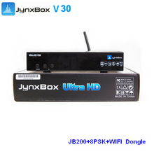 android tv box dual tuner jynxbox ultra hd v30 satellite receiver with wifi and JB200 free shipping to North America