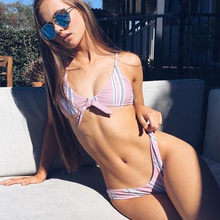 Buy Sexy Bikini Women Push Swimsuit Striped Bikini Set Halter Bandage Swimwear Female Thong Bathing Suit Padded Swimming Suit