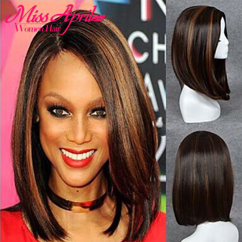 Short Bob Wig for Black Women Silky Straight Black Mixed Brown Fake Hair Synthetic Wig With Baby Hair Perruque False female Hair<br><br>Aliexpress