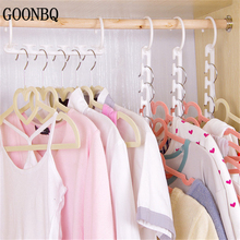 GOONBQ 1 pc Space Saving Hanger Plastic Cloth Hanger Hook Magic Clothes Hanger With Hook Closet Organizer(China)