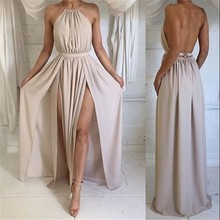 New Arrival 2017 Floor Length Evening Dresses Long vestido de festa Front Split Straps Halter Formal Prom Party Celebrity Gown