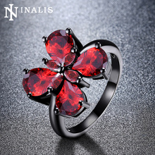 INALIS Charming Flower Butterfly Design 3 Colors Pear Zircon Rings for Women Black Gold Color Vintage Femme Party Dress Jewelry(China)