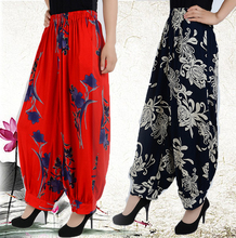 Large size cotton national wind flower pants long pants loose straight  female thin section Wide leg pants Bloomers harem pants