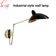 Industrial wind folding and telescopic wall lamp robotic arm rocker reading lamp bedside wall light haomer 110/220V(China)