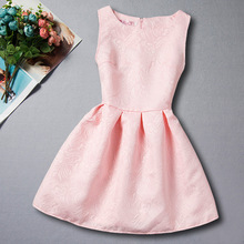 2017 New Spring Baby Girl Dress Children's Clothing Pink Red Black Princess Party Dress Printing Sleeveless Vest Girl Dress