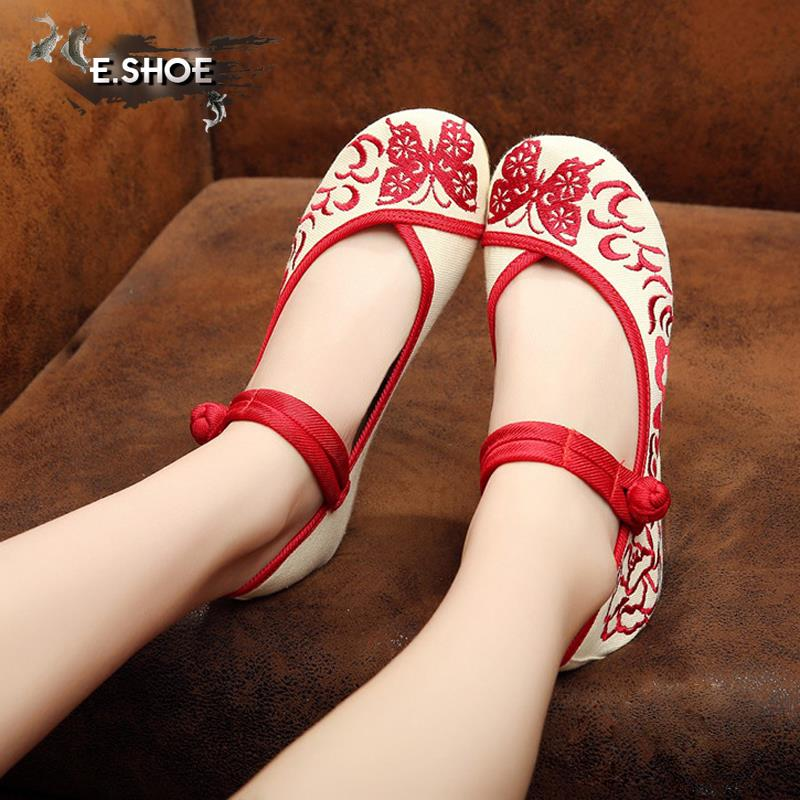 2017 new exquisite simple red butterfly embroidery retro shoes for women walking wedge heels womens pumps free shipping<br><br>Aliexpress