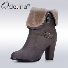 Odetina 2017 New Fashion Winter Boots European Ladies Snow Boots High Block Heel Ankle Boots for Women Warm Shoes Big Size 34-43