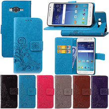 Embossed PU leather Phone Case For Samsung Galaxy Grand Prime G530 Core Prime G360 Cover Card Holder Flip Stand Wrist Strap