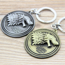 Game of Thrones Shield Round Coin Metal Keychain Pendant Key Chain Chaveiro Key Ring KT158(China)