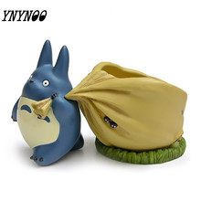 YNYNOO 23CM My Neighbor Blue Totoro Figurines With Bag Flower Pot Toys Set Japanese Anime Totoro Action Figures Home Decoration(China)