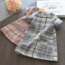 Dropshipping 2017 Brand Autumn Girls Clothes O-neck Plaid Pocket Design Girl Cotton Party Princess Dresses For Kids PT099