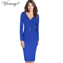 Vfemage Womens Winter Elegant Sexy Deep V Neck Long Sleeve Vintage Casual Work Office Cocktail Party Faux Wrap Sheath Dress 8400(China)