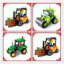 ENLIGHTEN Engineer Truck Road Roller Forklift Mixer Tractor Sweeper Bulldozer Model Building Blocks Kids Toys Compatible Legoe