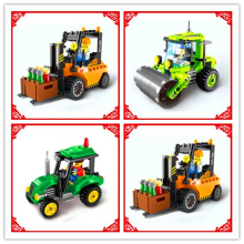 Engineer Truck Road Roller Forklift Mixer Tractor Sweeper Bulldozer Building Blocks Compatible Legoe ENLIGHTEN Toys For Children(China)