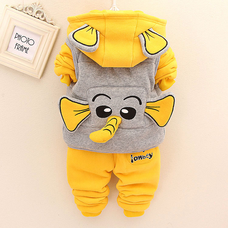 3pcs/sets Winter Warm Baby Clothes Girl Boys Cute Cartoon Cotton Hooded + Jackets + Pants Autum Children Casual Outwear Coats<br><br>Aliexpress