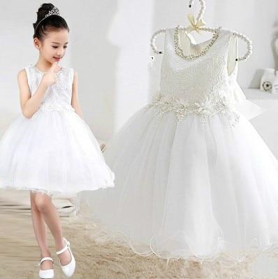 Girls wedding dress princess costumes host flower girl birthday gift baby dress piano performance<br>