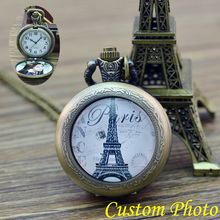 PARIS Eiffel Tower Pocket Watch Antique Locket Necklace Vintage Bronze Pocket Watch Necklace custom personal photo for gift(China)
