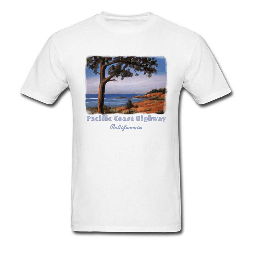 Simple Style Crewneck T Shirts Summer/Fall Tops Tees Short Sleeve Newest Cotton Fabric Printed Tshirts Casual Men Pacific Highway California Highway One Coastal Calif white