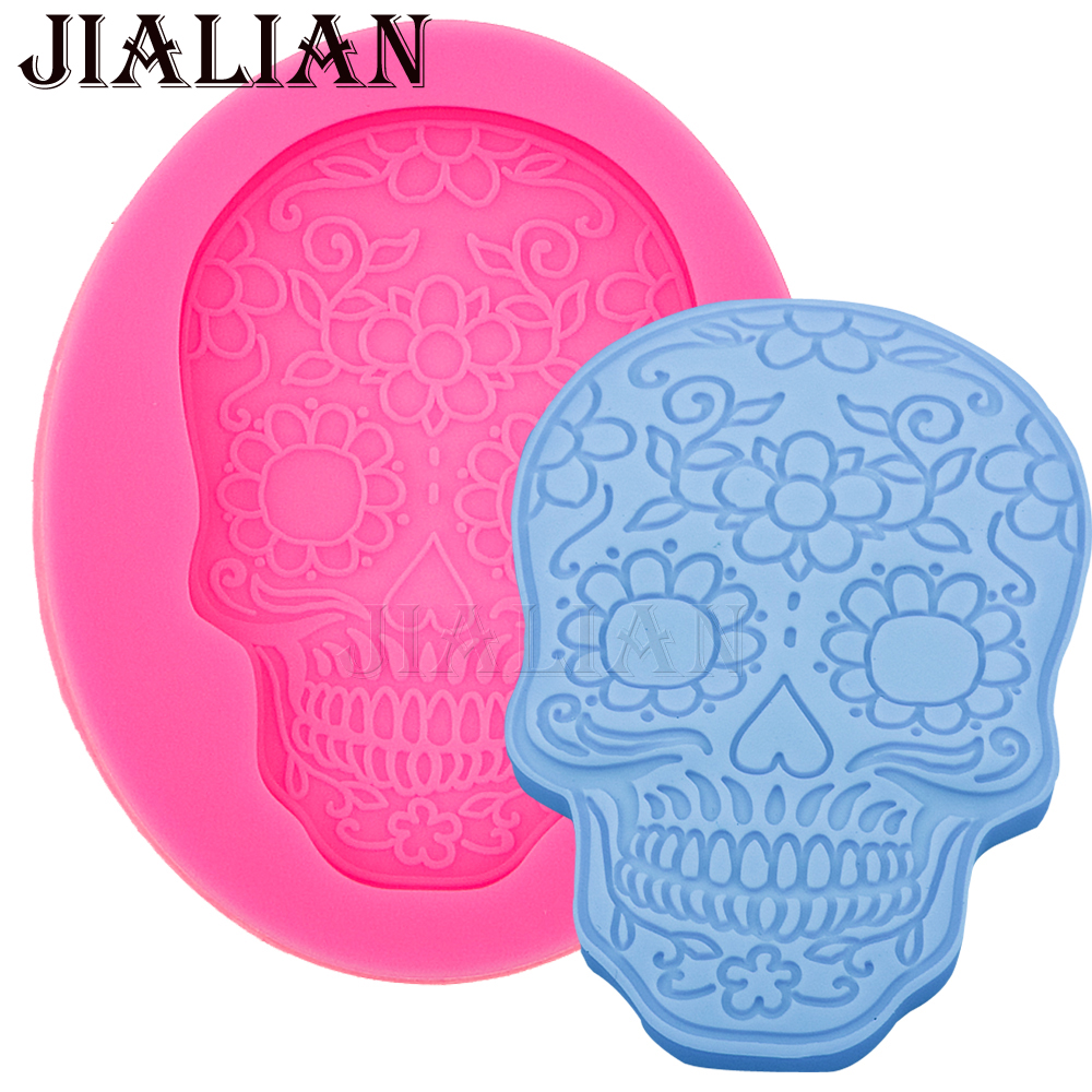 Image New Skull Christening Mould Halloween Fondant Cake decoration Silicone Molds Cupcake Baking Tools Chocolate  FT 567