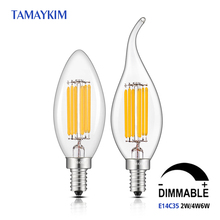 Dimmable LED Bulb E14 C35 Retro Lamps,2W 4W 6W 220V 240V LED Filament Light,Clear Glass Edison Candle Light,5000K Cold White(China)