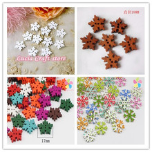 12pcs 18MM/17mm/25mm 2-Holes Christmas Snowflake Wooden Buttons Fit Sewing and Scrapbook DIY Wedding Decoration 13011855(18D12)
