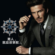 High-grade Diamond Brooch Men Design Restoring Ancient Ways European And American Style Man's Suit Badge Jewelry