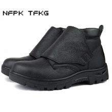 big size men leisure steel toe caps work safety electric welding shoes soft leather platform tooling ankle boots autumn winter(China)