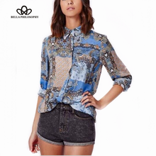 New Ladies 'Elegante paisley étnica do vintage floral impressão OL blusas turn down collar manga comprida camisas casual tops da marca slim