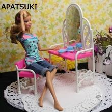 Nice Gift funny toys for baby girls play house toys dresser dressing table with chairs doll house Furniture for barbie doll(China)